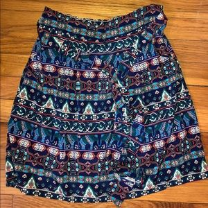 Boho patterned tie mini skirt with pockets